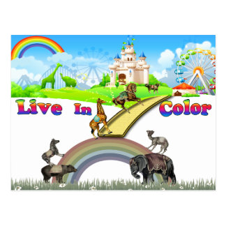 Live In Color Vintage Circus Animals Team Work Postcard