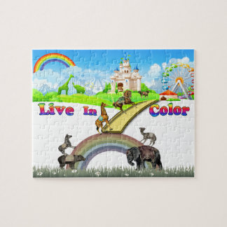 Live In Color Vintage Circus Animals Team Work Puzzle