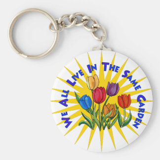 Live In Peace Garden Basic Round Button Key Ring