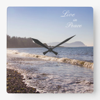 Live in Peace Ocean Waves Wall clock