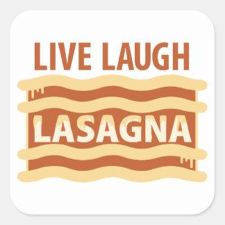 Live Laugh Lasagna Square Sticker