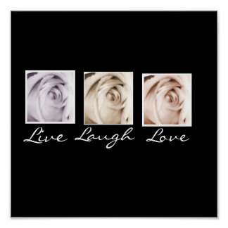 Live, Laugh, Love 3 roses black background print