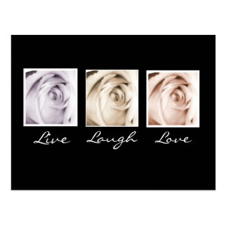 Live Laugh Love 3 roses postcard