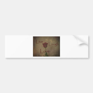 Live Laugh Love and Romance Rose Photograph Art Bumper Sticker