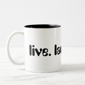 Live, Laugh, Love Bubbly Black Font Two-Tone Coffee Mug