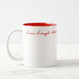 Live Laugh Love Chic Modern Red Hand Lettered Two-Tone Coffee Mug