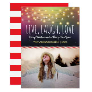 Live, Laugh, Love Christmas Photo | Jolly Holiday Card