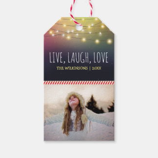 Live, Laugh, Love Christmas Photo | Jolly Holiday Gift Tags