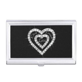 Live Laugh Love Diamond Heart Business Card Holder