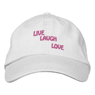 LIVE, LAUGH, LOVE EMBROIDERED BASEBALL CAPS