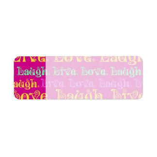 Live Laugh Love Encouraging Words Hot Pink Fuchsia Return Address Label