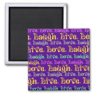 Live Laugh Love Encouraging Words Purple Girly Magnet