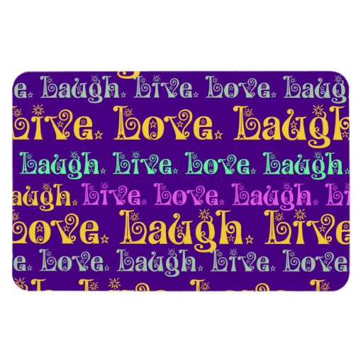 Live Laugh Love Encouraging Words Purple Girly Rectangle Magnets