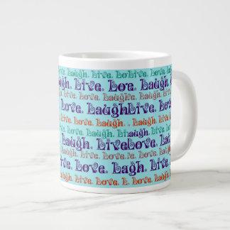 Live Laugh Love Encouraging Words Teal Blue Large Coffee Mug