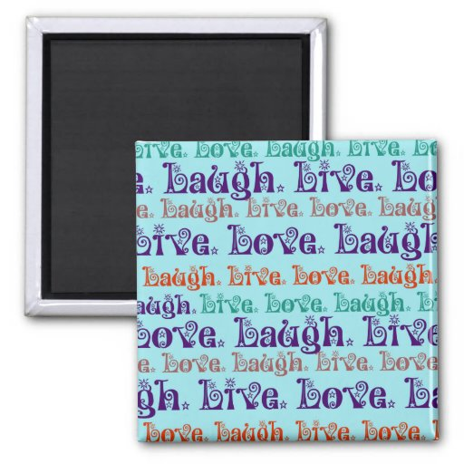 Live Laugh Love Encouraging Words Teal Blue Refrigerator Magnets