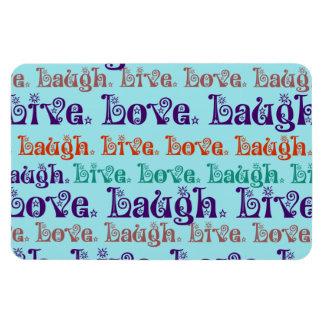 Live Laugh Love Encouraging Words Teal Blue Rectangular Magnet