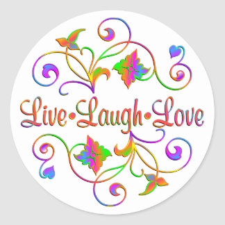 Live Laugh Love Flourish Classic Round Sticker