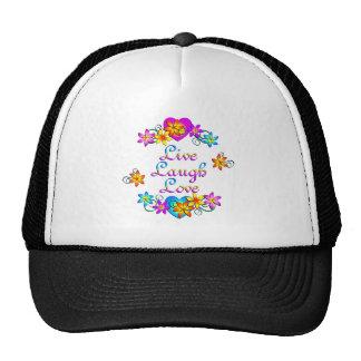 Live Laugh Love Flowers Hats