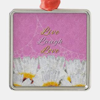 Live Laugh Love Flowers Silver-Colored Square Decoration
