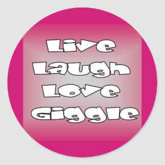 Live laugh love giggle stamps and cards round sticker