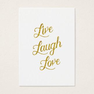 Live Laugh Love Gold Faux Glitter Metallic Sequins Business Card