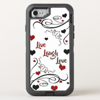 Live Laugh Love Hearts and Swirls OtterBox Defender iPhone 8/7 Case