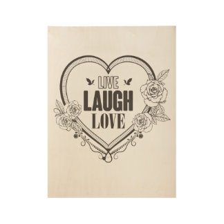 Live laugh love inspirational retro poster wood poster