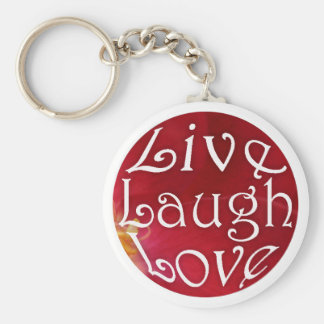 Live Laugh Love Key Chain in Red
