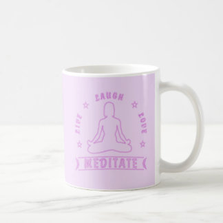 Live Laugh Love Meditate Female Text (neon) Coffee Mug