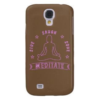 Live Laugh Love Meditate Female Text (neon) Galaxy S4 Cover