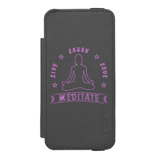 Live Laugh Love Meditate Female Text (neon) Incipio Watson™ iPhone 5 Wallet Case