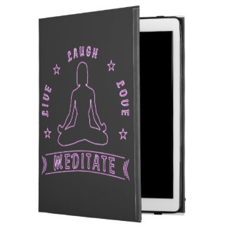 "Live Laugh Love Meditate Female Text (neon) iPad Pro 12.9"" Case"