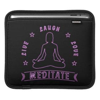 Live Laugh Love Meditate Female Text (neon) iPad Sleeve