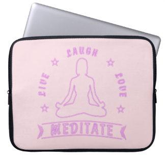 Live Laugh Love Meditate Female Text (neon) Laptop Sleeve