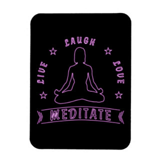 Live Laugh Love Meditate Female Text (neon) Magnet