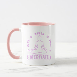 Live Laugh Love Meditate Female Text (neon) Mug