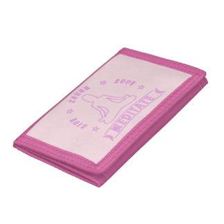 Live Laugh Love Meditate Female Text (neon) Tri-fold Wallets
