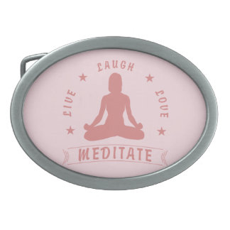 Live Laugh Love Meditate Female Text (pink) Belt Buckle