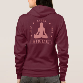 Live Laugh Love Meditate Female Text (pink) Hoodie