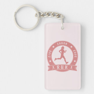 Live Laugh Love Meditate Female Text (pink) Key Ring
