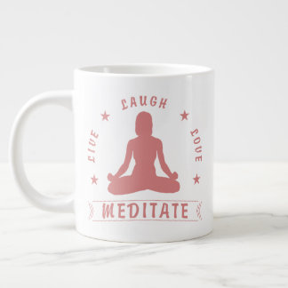 Live Laugh Love Meditate Female Text (pink) Large Coffee Mug