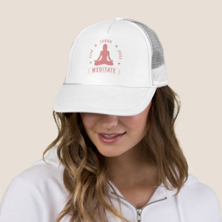 Live Laugh Love Meditate Female Text (pink) Trucker Hat