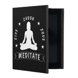 Live Laugh Love Meditate Female Text (wht) iPad Folio Case