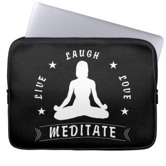 Live Laugh Love Meditate Female Text (wht) Laptop Sleeve