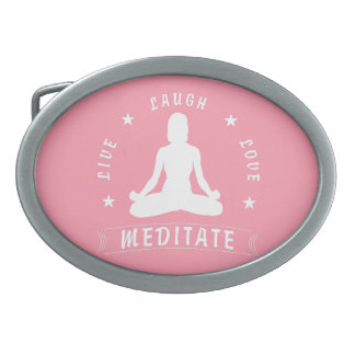 Live Laugh Love Meditate Female Text (wht) Oval Belt Buckles