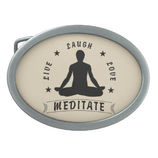 Live Laugh Love Meditate Male Text (blk) Belt Buckle