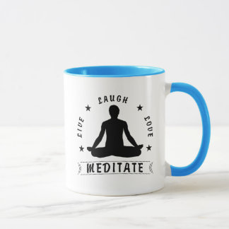 Live Laugh Love Meditate Male Text (blk) Mug