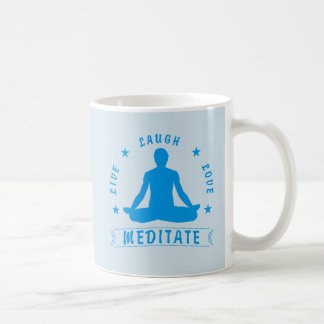Live Laugh Love Meditate Male Text (blue) Coffee Mug