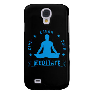 Live Laugh Love Meditate Male Text (blue) Galaxy S4 Covers