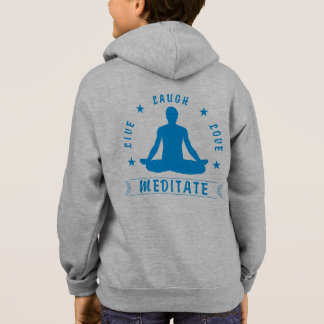 Live Laugh Love Meditate Male Text (blue) Hoodie
